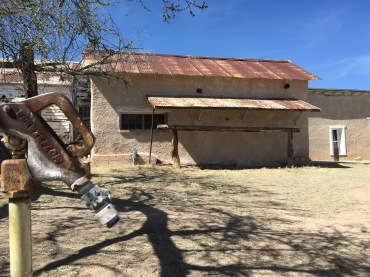 The corral area and the hitching post