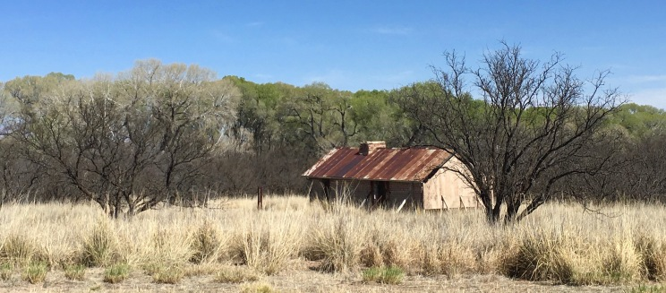 An old dilapidated ranch hand's home. They have not yet been able to restore the building