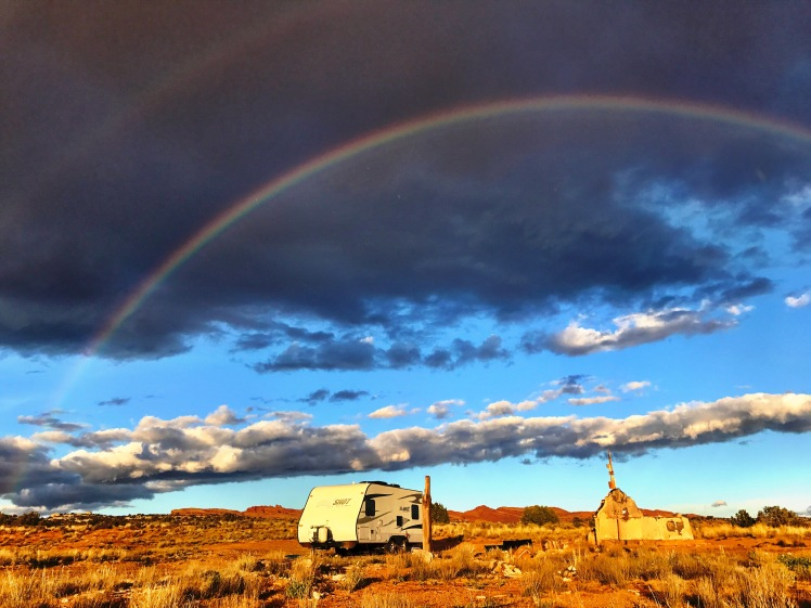 Moab camping by Blue ruins rainbow